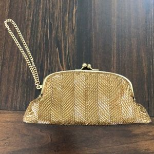 Gold Beaded Clutch/Wristlet